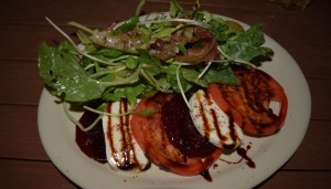 Roasted Beet Salad with tomatoe, fresh mozzarella, balsamic reduction, and Josephine's local organic greens